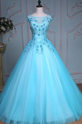 Abito Quinceanera con Increspature con paillette in Paillette Ball Gown in Tulle in Pizzo