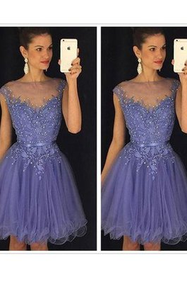 Abito da Cocktail con Applique Tondo Senza Maniche Corto in Tulle