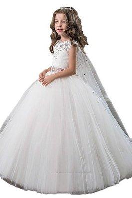 431e936c6e862 Robe de cortège enfant naturel jusqu au sol manche nulle avec perle de mode  de
