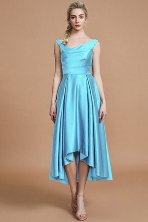 Robe demoiselle d'honneur naturel courte ligne a v encolure en satin - Photo 8