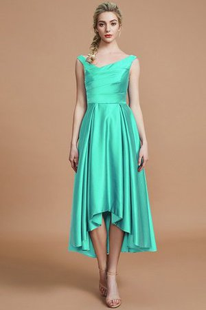 Robe demoiselle d'honneur naturel courte ligne a v encolure en satin - Photo 20