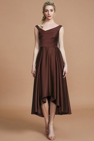 Robe demoiselle d'honneur naturel courte ligne a v encolure en satin - Photo 12