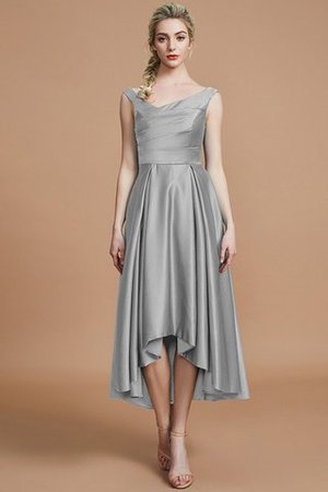 Robe demoiselle d'honneur naturel courte ligne a v encolure en satin - Photo 32