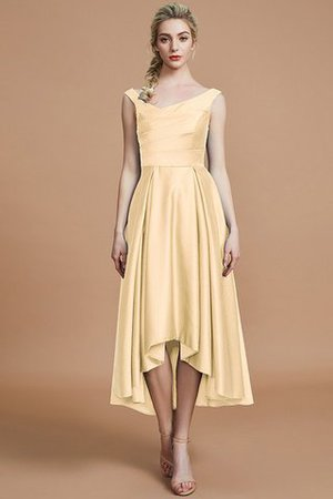 Robe demoiselle d'honneur naturel courte ligne a v encolure en satin - Photo 11