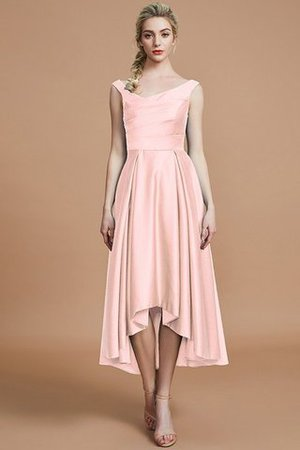 Robe demoiselle d'honneur naturel courte ligne a v encolure en satin - Photo 26