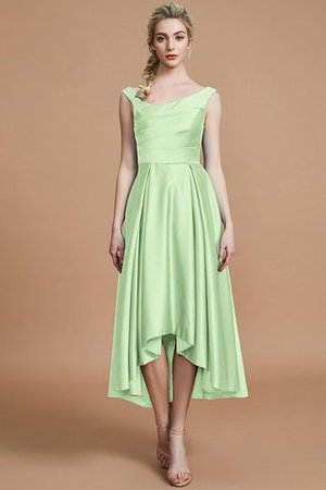 Robe demoiselle d'honneur naturel courte ligne a v encolure en satin - Photo 31