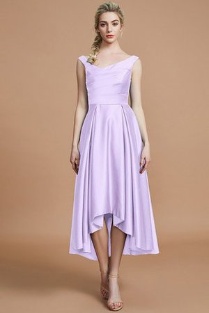 Robe demoiselle d'honneur naturel courte ligne a v encolure en satin - Photo 24