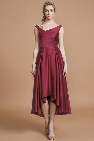 Robe demoiselle d'honneur naturel courte ligne a v encolure en satin - Photo 10