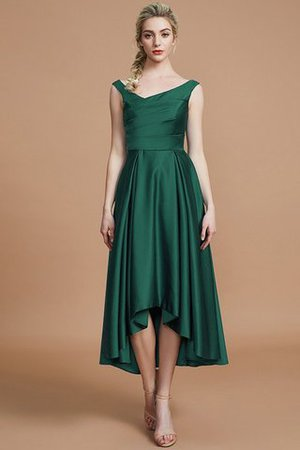Robe demoiselle d'honneur naturel courte ligne a v encolure en satin - Photo 14