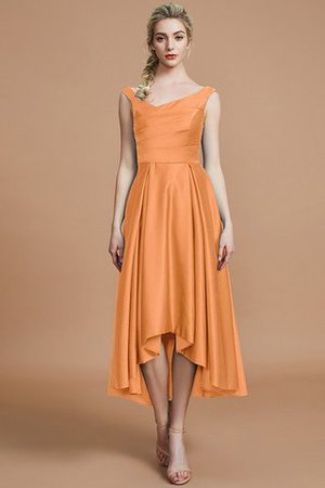 Robe demoiselle d'honneur naturel courte ligne a v encolure en satin - Photo 25