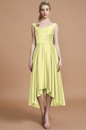 Robe demoiselle d'honneur naturel courte ligne a v encolure en satin - Photo 13