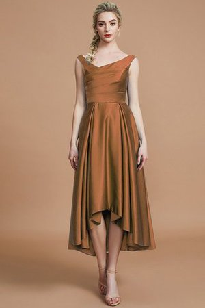 Robe demoiselle d'honneur naturel courte ligne a v encolure en satin - Photo 9