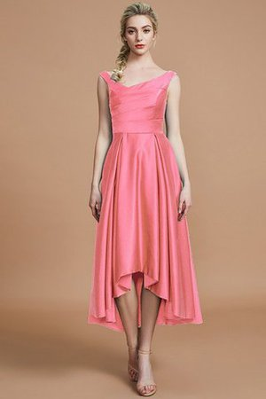 Robe demoiselle d'honneur naturel courte ligne a v encolure en satin - Photo 33