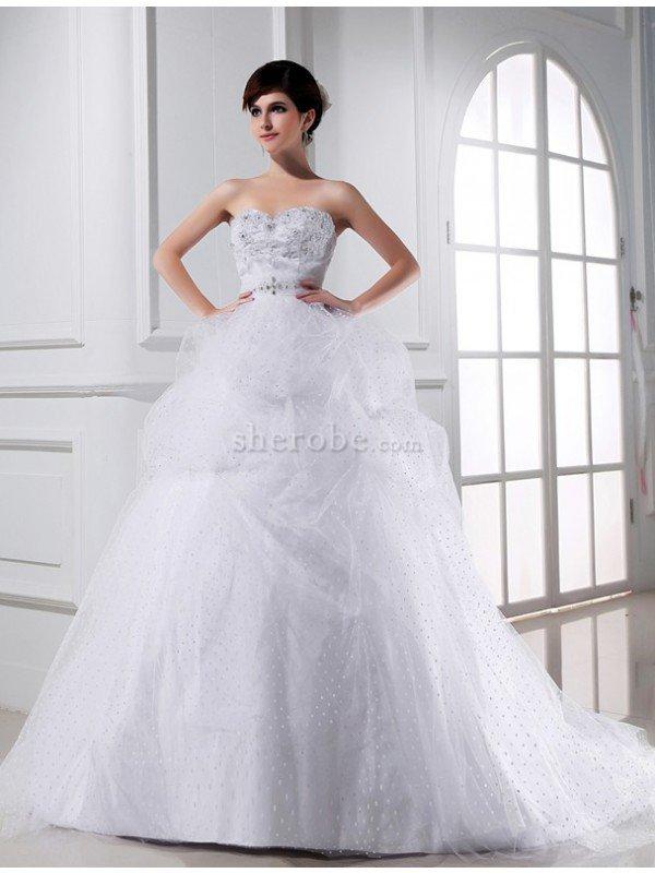 9b98e2beb Vestido de Novia de Corte Evasé en Tul de Sin mangas de Abalorio de Cordón  ...