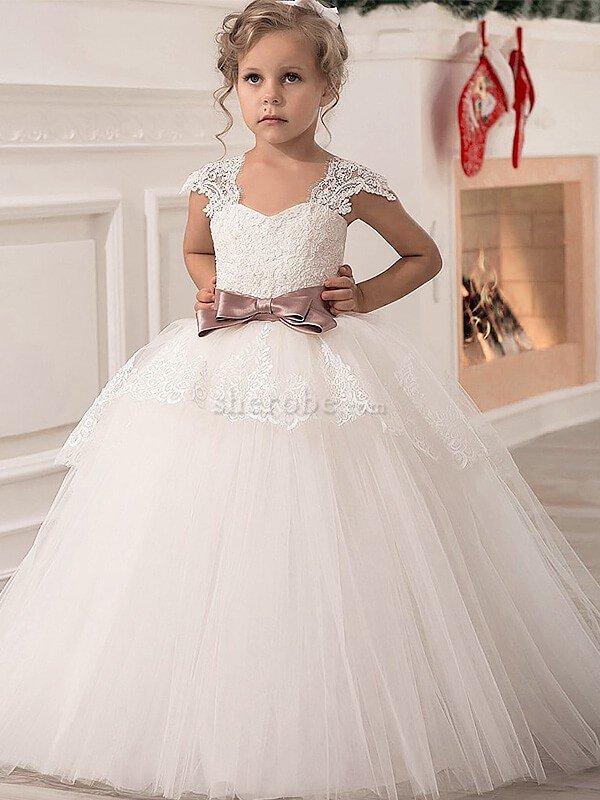 34290db5f941c Robe de cortège enfant avec fleurs avec ruban jusqu au sol en tulle manche  nulle ...