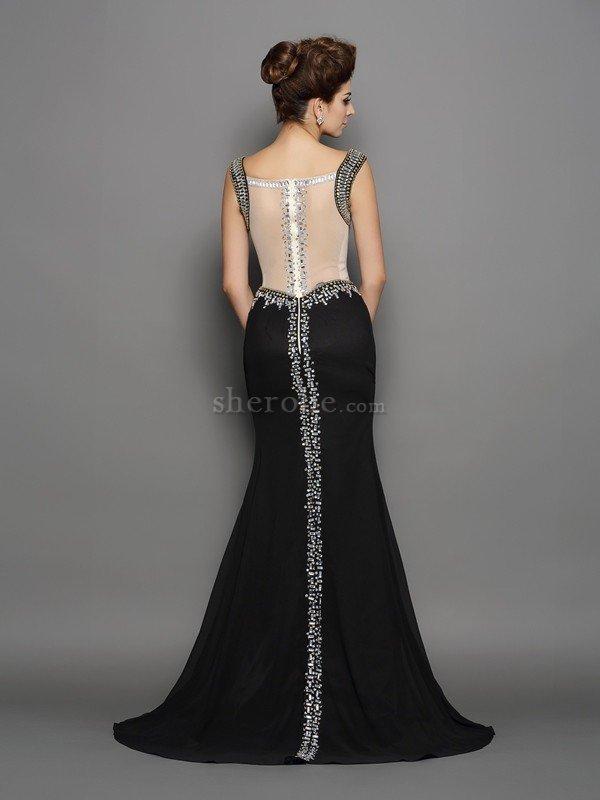 Vestido De Fiesta De Corte Sirena En Gasa De Abalorio De Sin