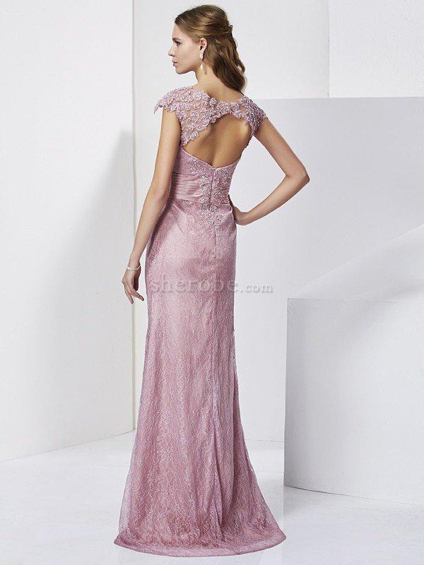 095082ff7b ... Vestido de Madrina de Corte Recto en Satén elástico tejido de Encaje  Adorno