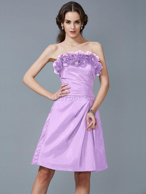 Vestido de Dama de Honor en Tafetán de Cremallera de Natural de ...