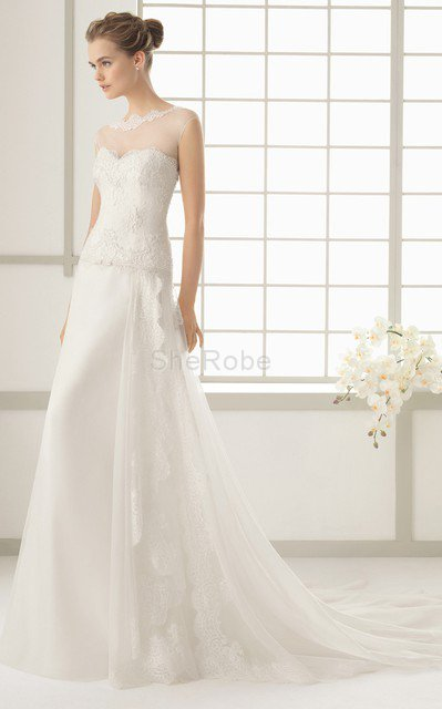 sencillo vestido de novia de cola barriba de cintura baja de mangas