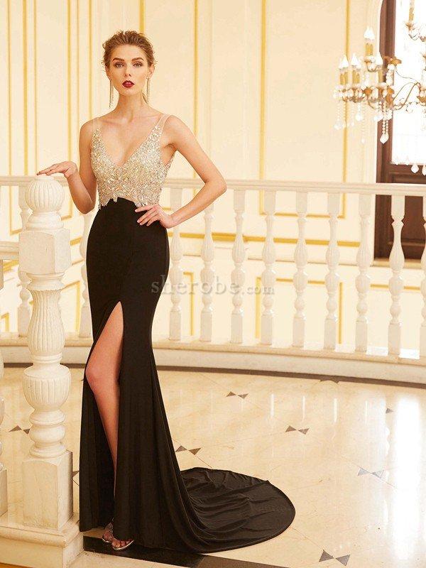 a795f82fc Vestido de Noche de Corte Recto de Abalorio de Espalda Descubierta de  Escote en V ...