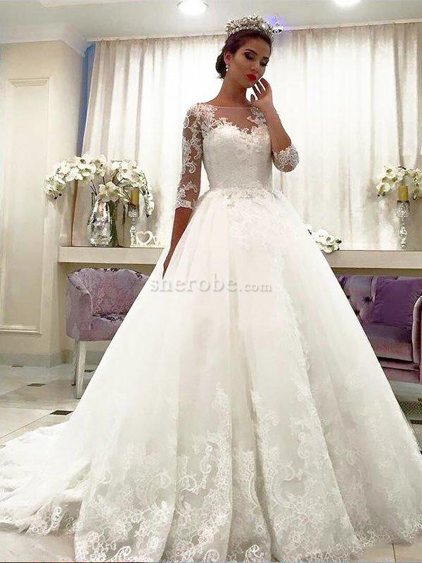 Abiti Da Sposa Con Pizzo.Abito Da Sposa In Tulle In Pizzo Naturale Ball Gown Con Tre Quarti