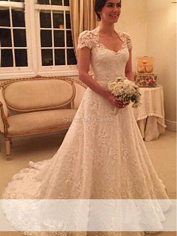 vestido de novia de corte princesa de escote corazón de cola corte