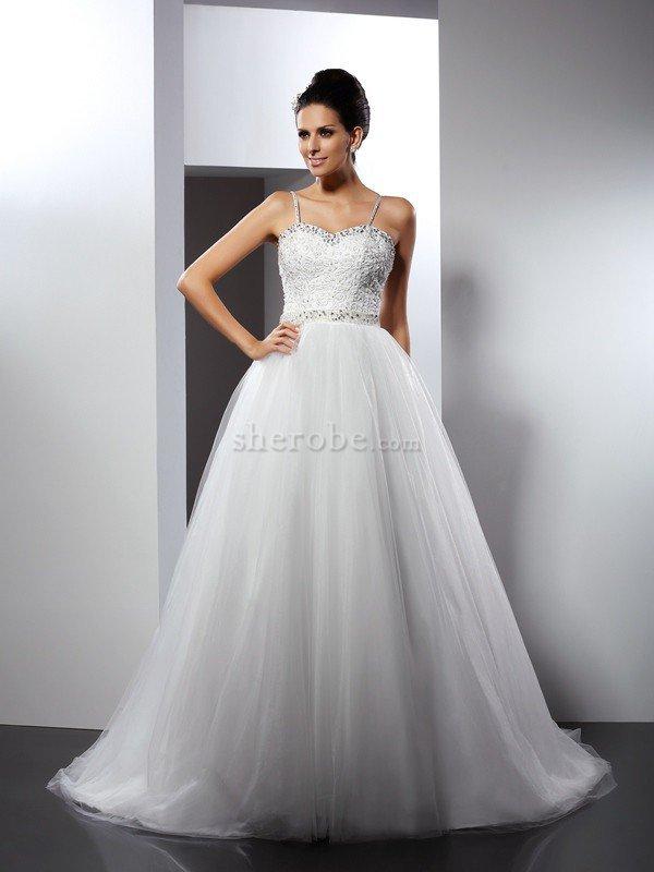 c8ffbec8f1a7 Abito da Sposa Principessa Elegante Alta Vita Conotta con Perline ...