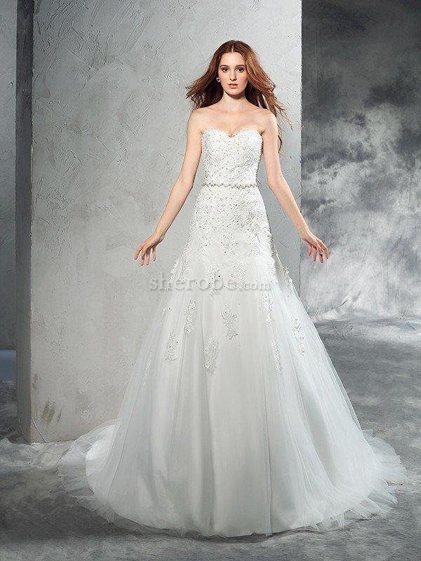 90972d109 ... Moderno Vestido de Novia de Cremallera de Sin mangas de Apliques de  Natural