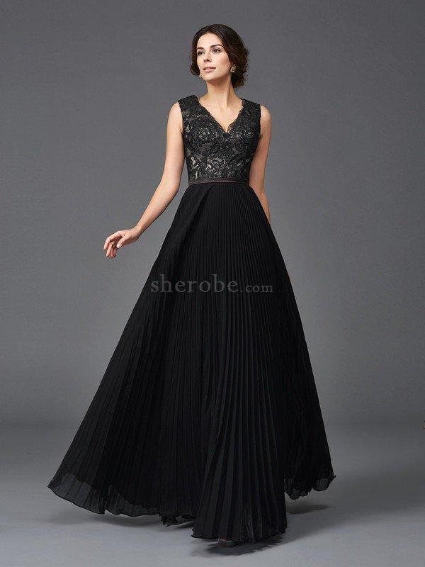 834d808359 Vestido de Madrina de Corte princesa de Escote en V de Encaje Adorno de  Largo ...