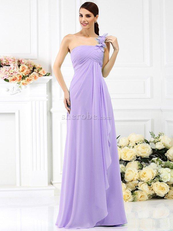 Vestido de Dama de Honor de Un sólo hombro de Plisado de Imperio ...