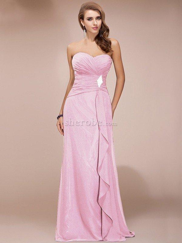 Vestido de Dama de Honor de Corte Recto de Largo de Cremallera de ...