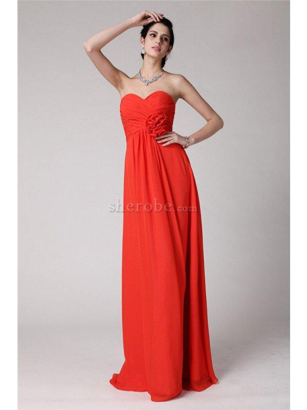 8906cb4e2 Vestido de Dama de Honor de Corte Recto de Hasta el suelo de Escote Corazón  ...
