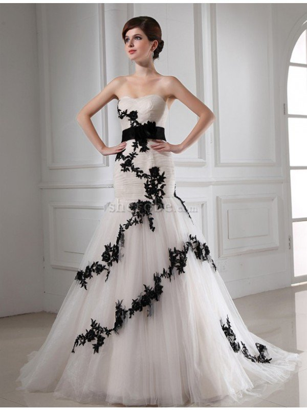 c299f3145 Vestido de Novia en Tul de Escote Corazón de Apliques de Sin mangas de Cola  Corte ...