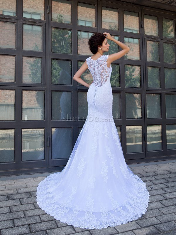 881abee6a ... Clasico Vestido de Novia de Corte Sirena en Satén de Apliques de Escote  en V ...