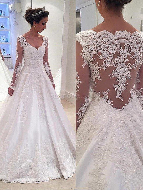 elegante vestido de novia de encaje adorno de manga larga de cola