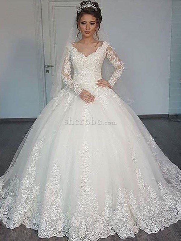 17f041c55514 Abito da Sposa in Tulle Naturale V-Scollo Elegante Coda A Strascico Corto