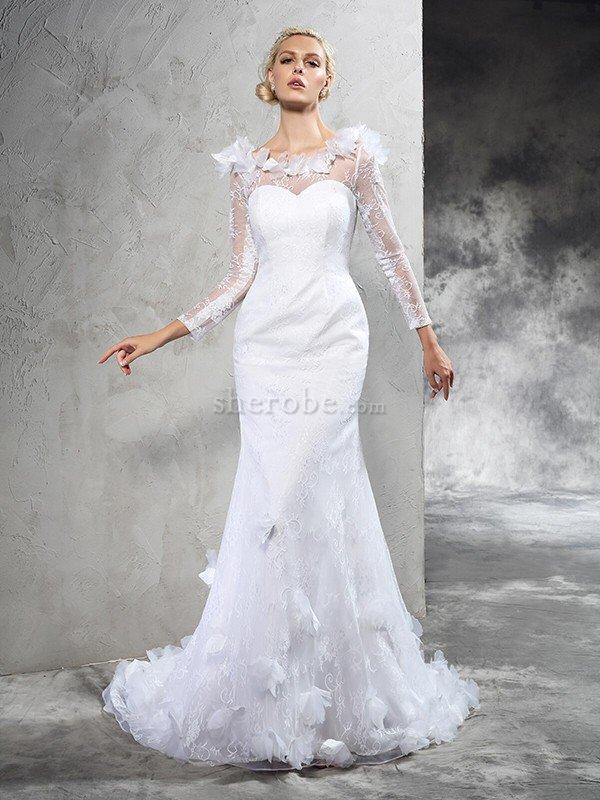822c160d295 ... Clasico Vestido de Novia de Corte Recto en Satén de Cola Corte de Largo