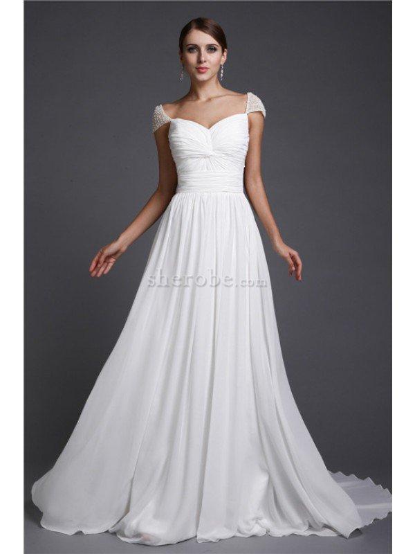 222688652 Vestido de Noche de Corte princesa en Gasa de Largo de Natural de Manga  corta ...