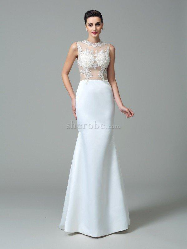 vestido de novia de corte recto en satén de sin mangas de natural de