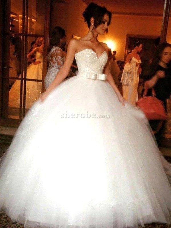 5707cc176 Vestido de Novia de Corte Evasé en Tul de Sin mangas de Escote Corazón de  Natural ...