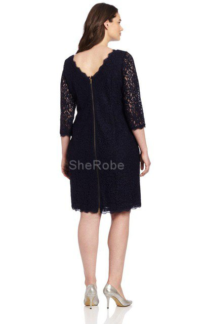 Robe de cocktail luxueux facile avec zip en 3/4 manche en forme