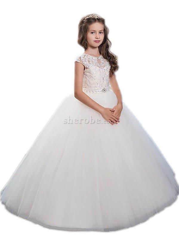 eef53fd6a7e Robe de cortège enfant col u profond en tulle manche nulle avec perle  jusqu au ...