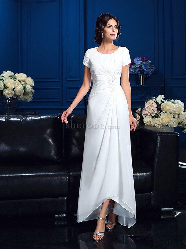518c6a3567df6b Robe mère de mariée naturel haut bas de princesse asymétrique a ...