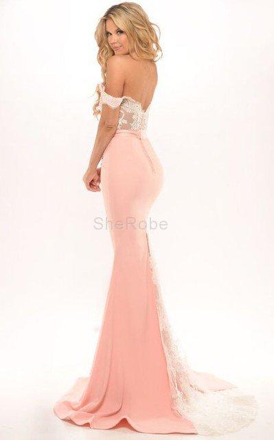 9552b0f611 ... Elegante Vestido de Noche de Corte Sirena en Gasa de Espalda Descubierta