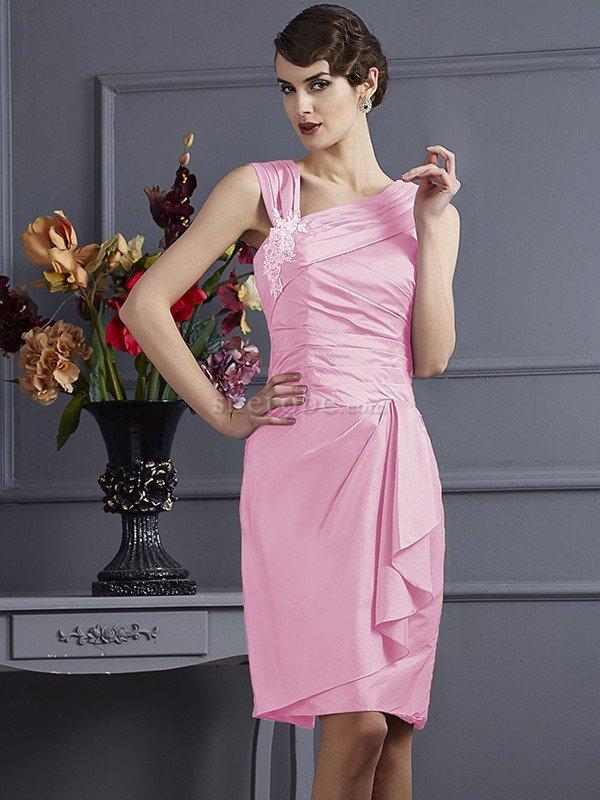 Vestido de Dama de Honor de Corte Recto en Tafetán de Apliques de ...