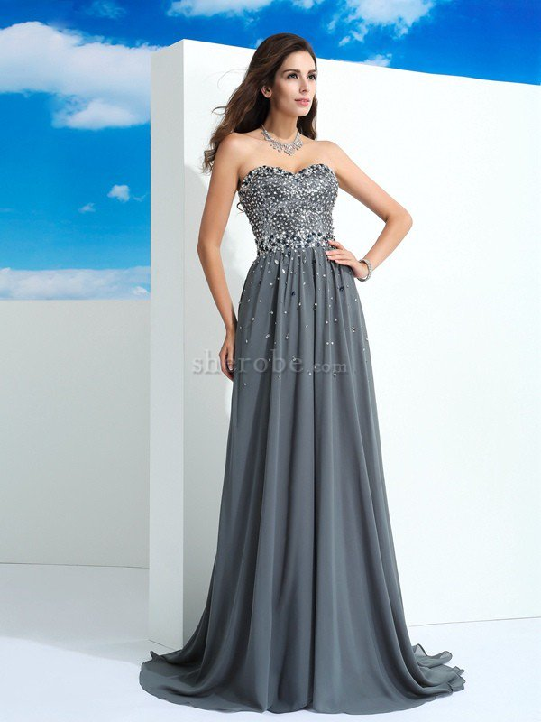 43af8a79a Vestido de Fiesta de Corte princesa de Corte-A en Gasa de Largo de Abalorio  ...