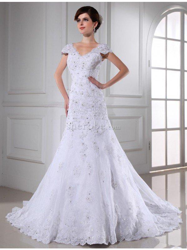 c14d5eb36 Sencillo Vestido de Novia de Apliques de Escote en V de Imperio Cintura de  Largo ...