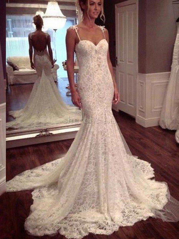 Vestido de novia corte sirena sencillo